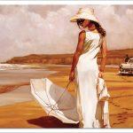 woman with parasol زنی با چتر پازل 1000 تکه