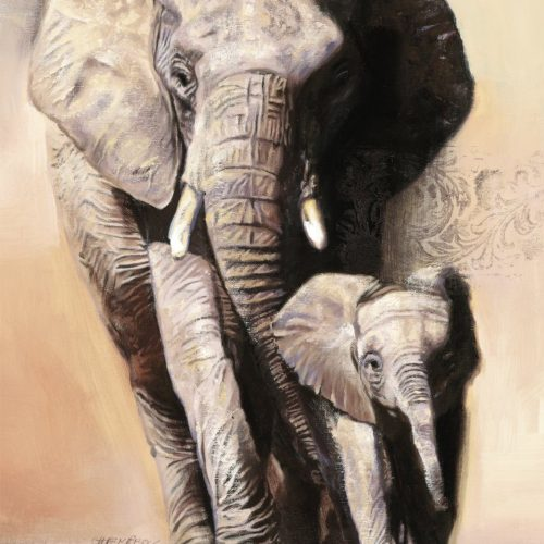 elephand family - wood finish