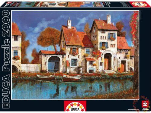 نقاشی خانه ای کنار آب