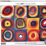 پازل ۱۰۰۰ تکه مطالعه رنگ، مربع ها با حلقه های محوری اثر واسیلی کاندینسکی